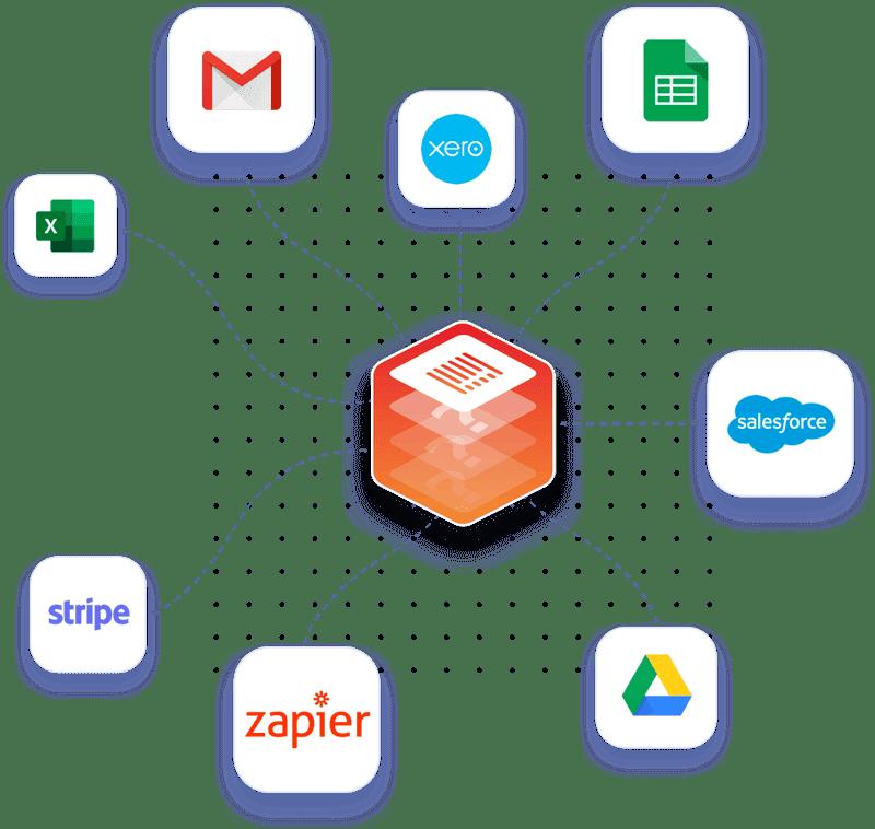Conectar Monstock a muchas aplicaciones de software (Excel, Gmail, Xero, hojas de Google, Salesforce, Google Drive, Zapier, raya, y muchos otros).