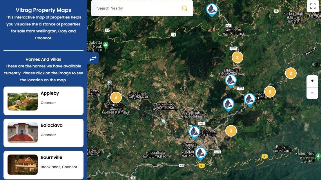Vitrag Properties Map - Houses and Plots for Sale in Nilgiris