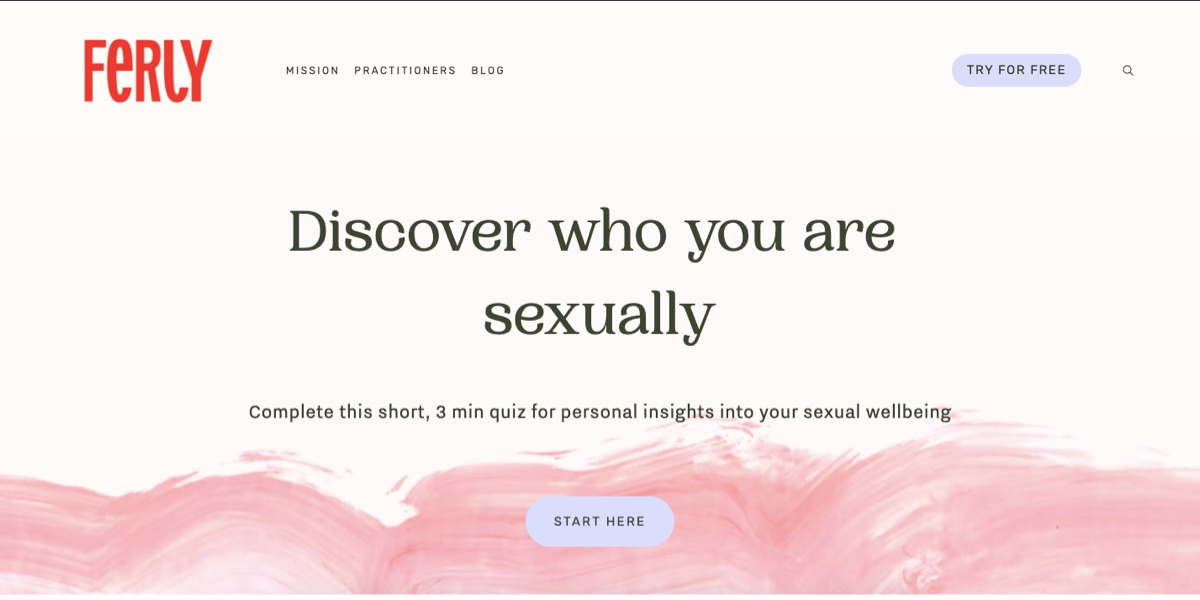 Screengrab of the Ferly homepage, featuring a white and pink background and the text: Discover who you are sexually