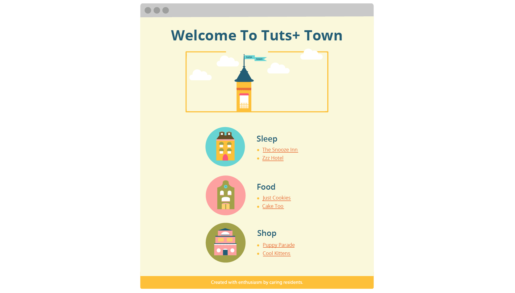 Illustrated preview of Tuts Town site