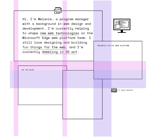 A few, mostly empty boxes overlapping each other, with transparent purple and pink overlays marking where the overlaps occur. This digital sketch lacks most of the content in the final design.