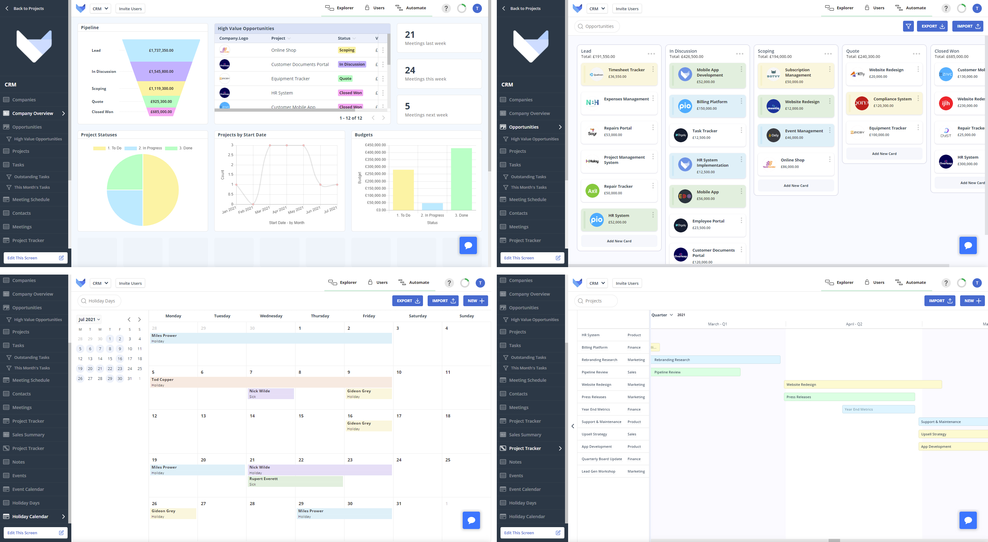 A selection of screens in Gridfox