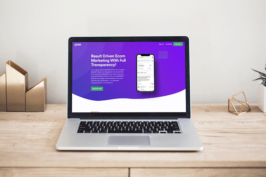 A desktop mockup of the ecom agency website