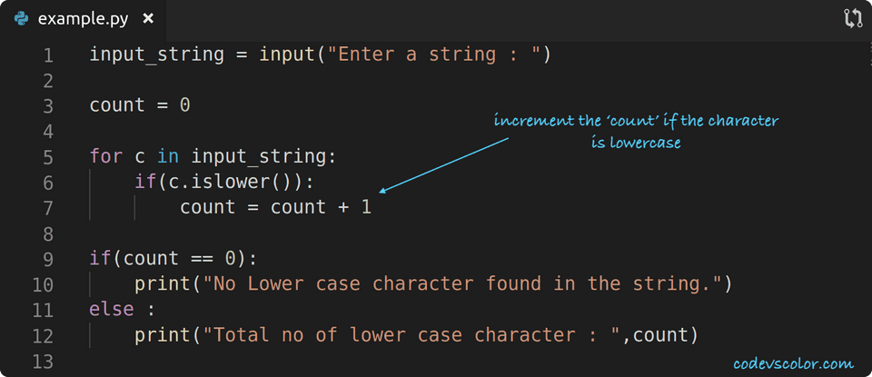 python program count lowercase character