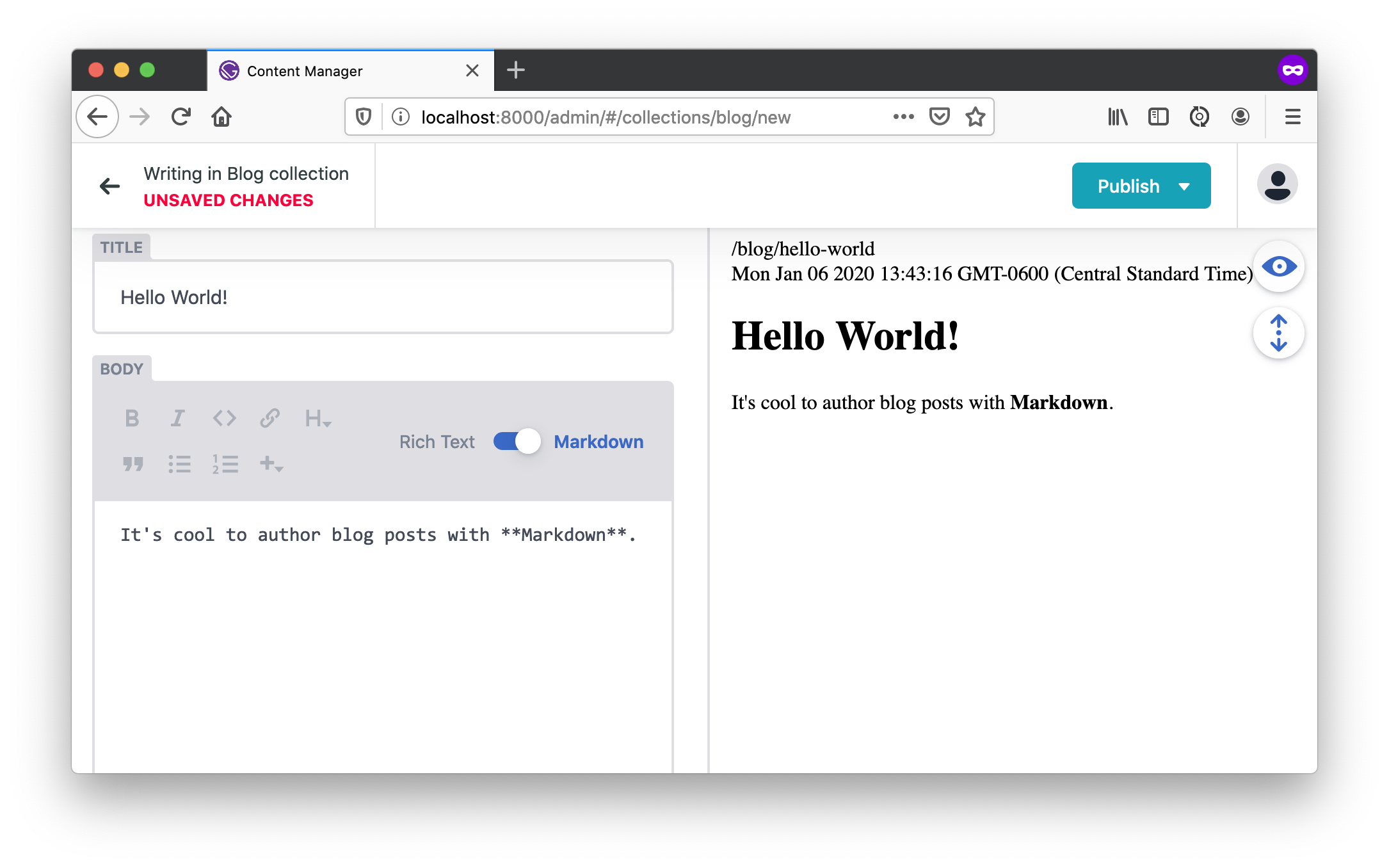 Create blog post