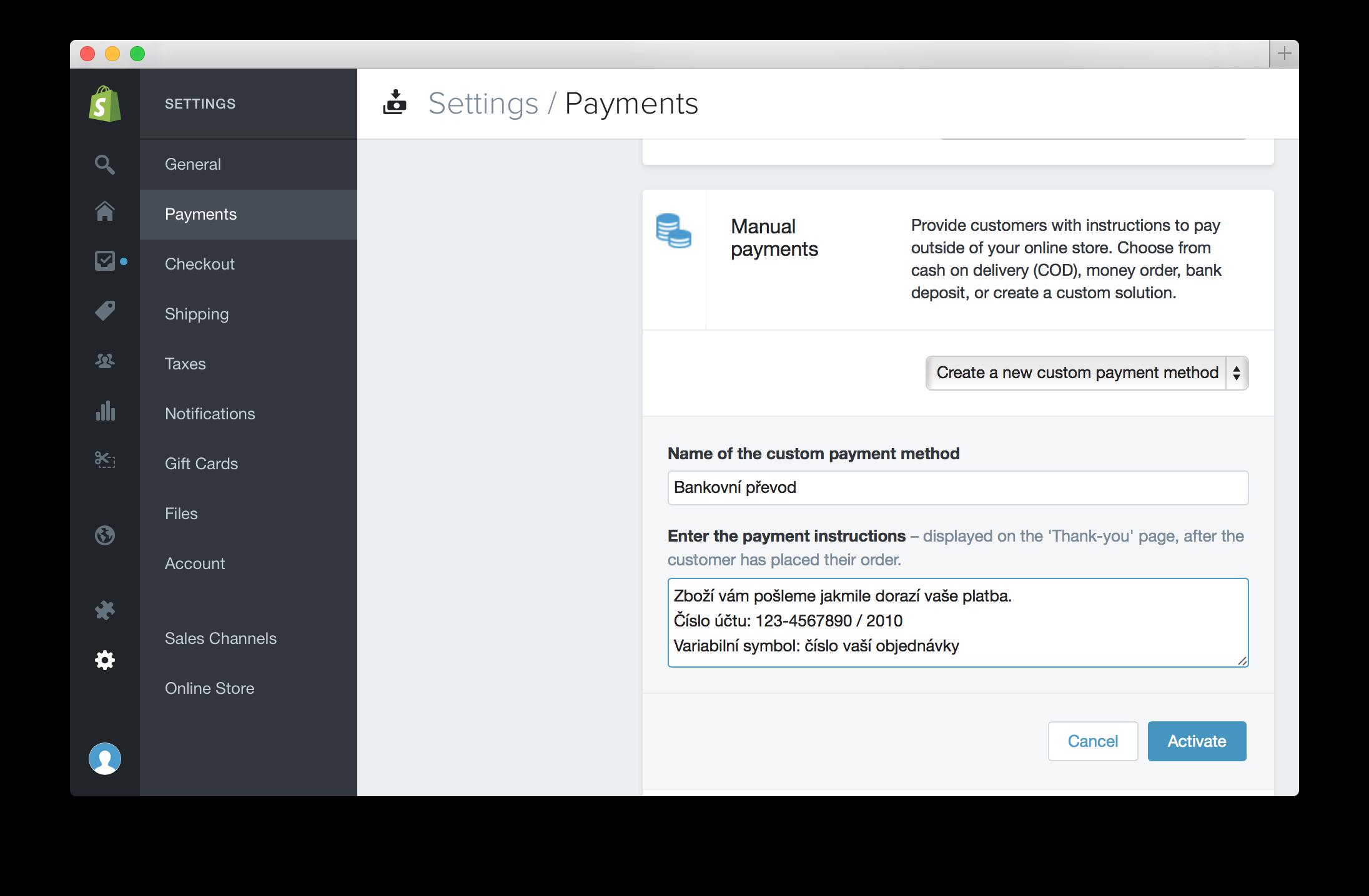 Nastavení platby bankovním převodem na Shopify