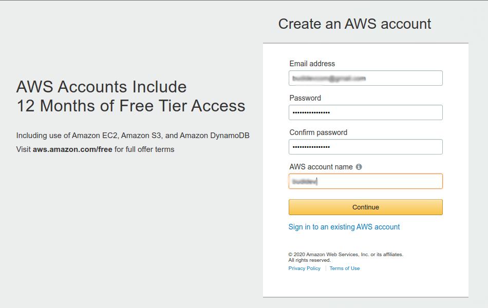 AWS Sign Up Portal