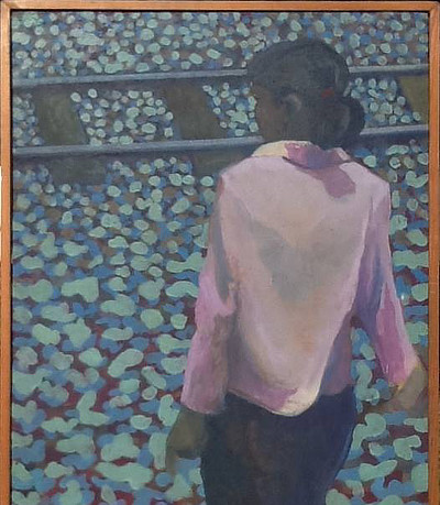 painting of a figure from behind in front of railway tracks