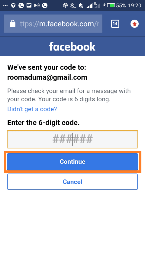 Reset Facebook password on mobile website: Enter code