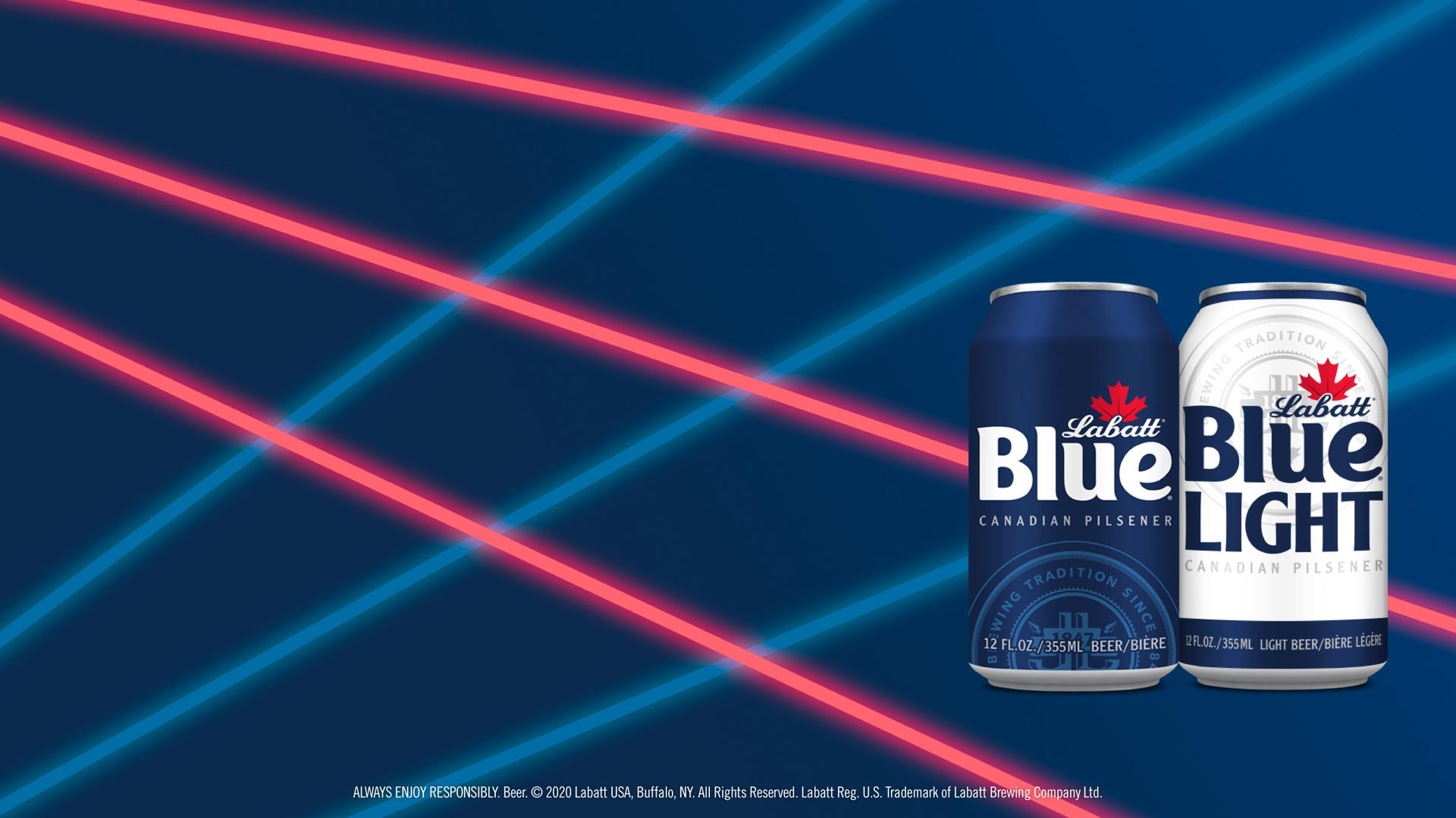 Blue and Blue Light Cans in front of an '80s Lasers Background