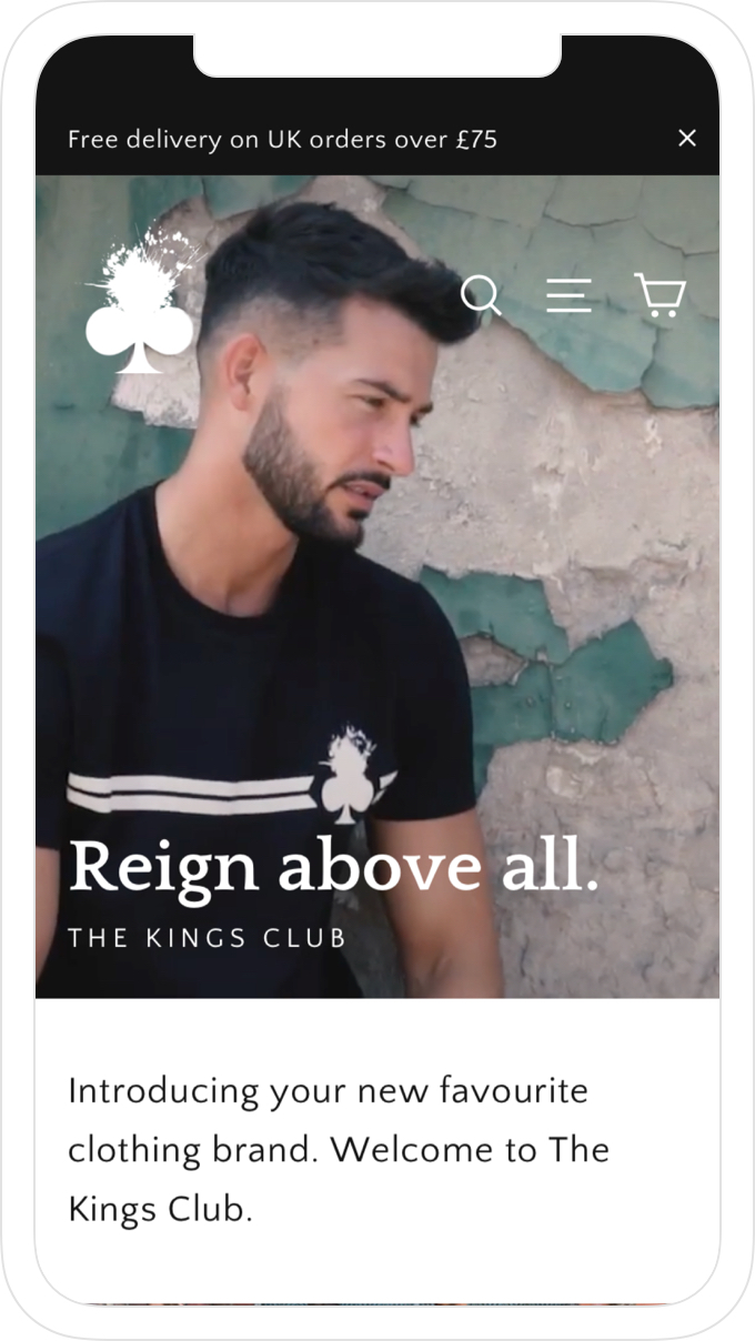Home page, website and online store design for men's clothing brand, The Kings Club