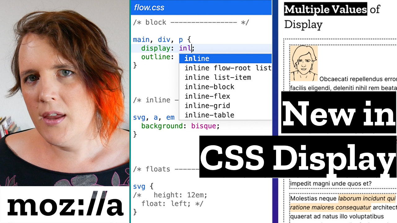 CSS snippet showing display value options