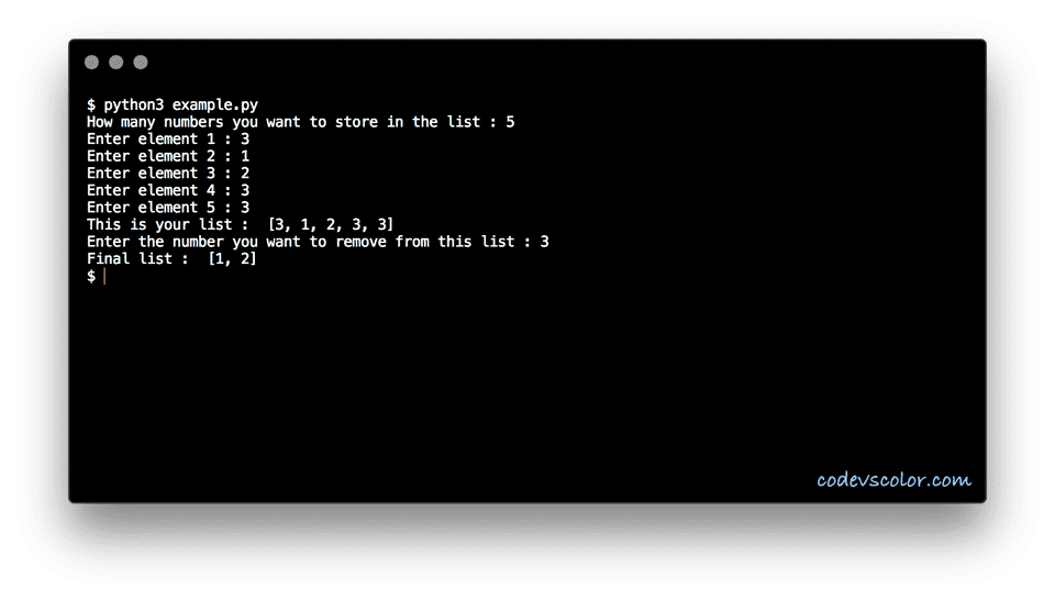 python remove occurance from a list