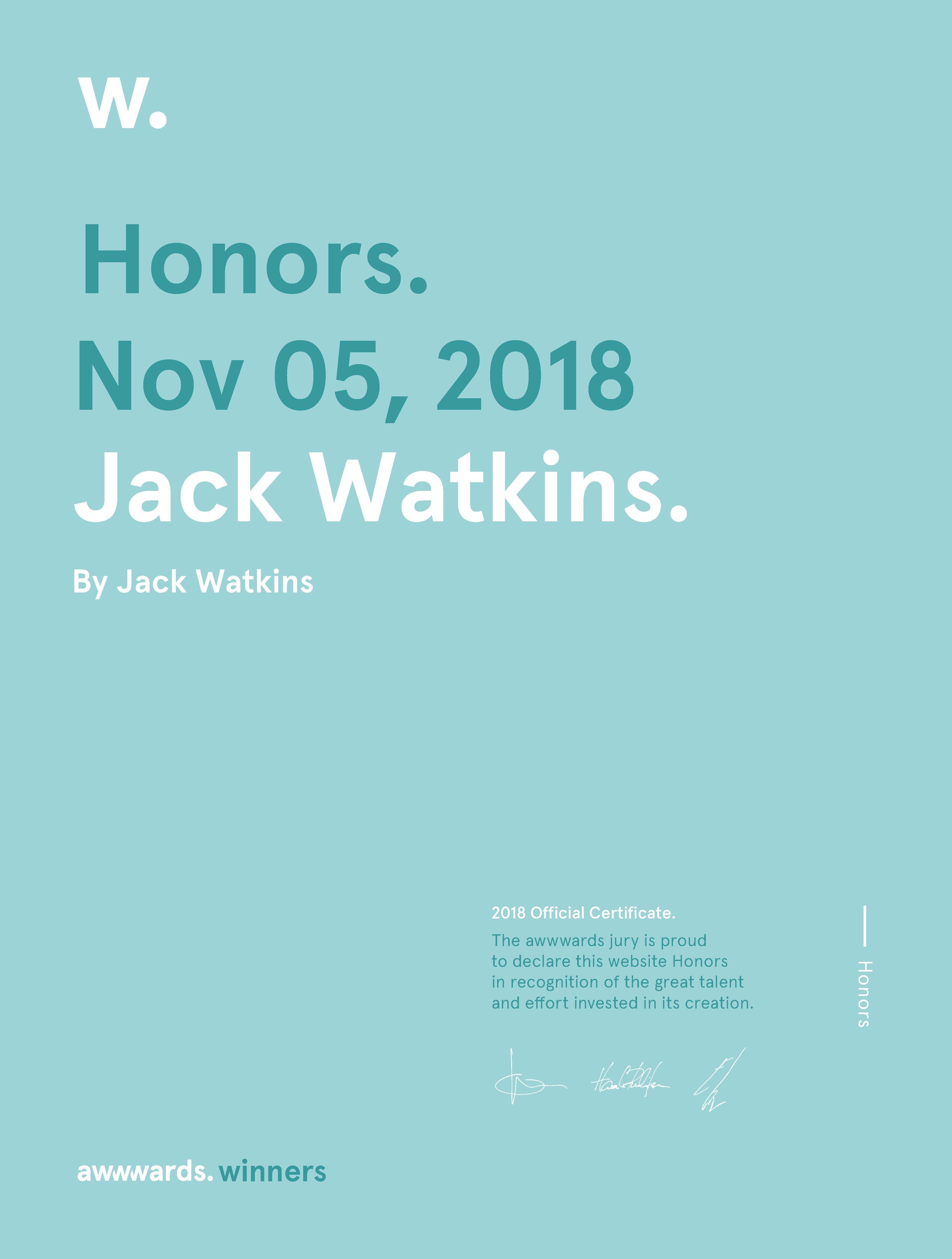Jack Watkins Awwwards Honorable Mention