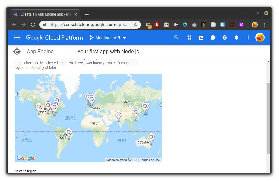 Selecionando a região no Google Cloud Platform