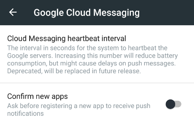 MicroG Google Cloud Messaging advanced settings.