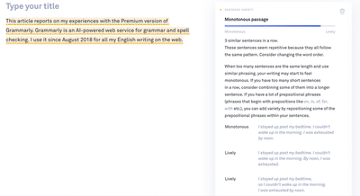 Screenshot of a Grammarly window with alert about a boring text passage