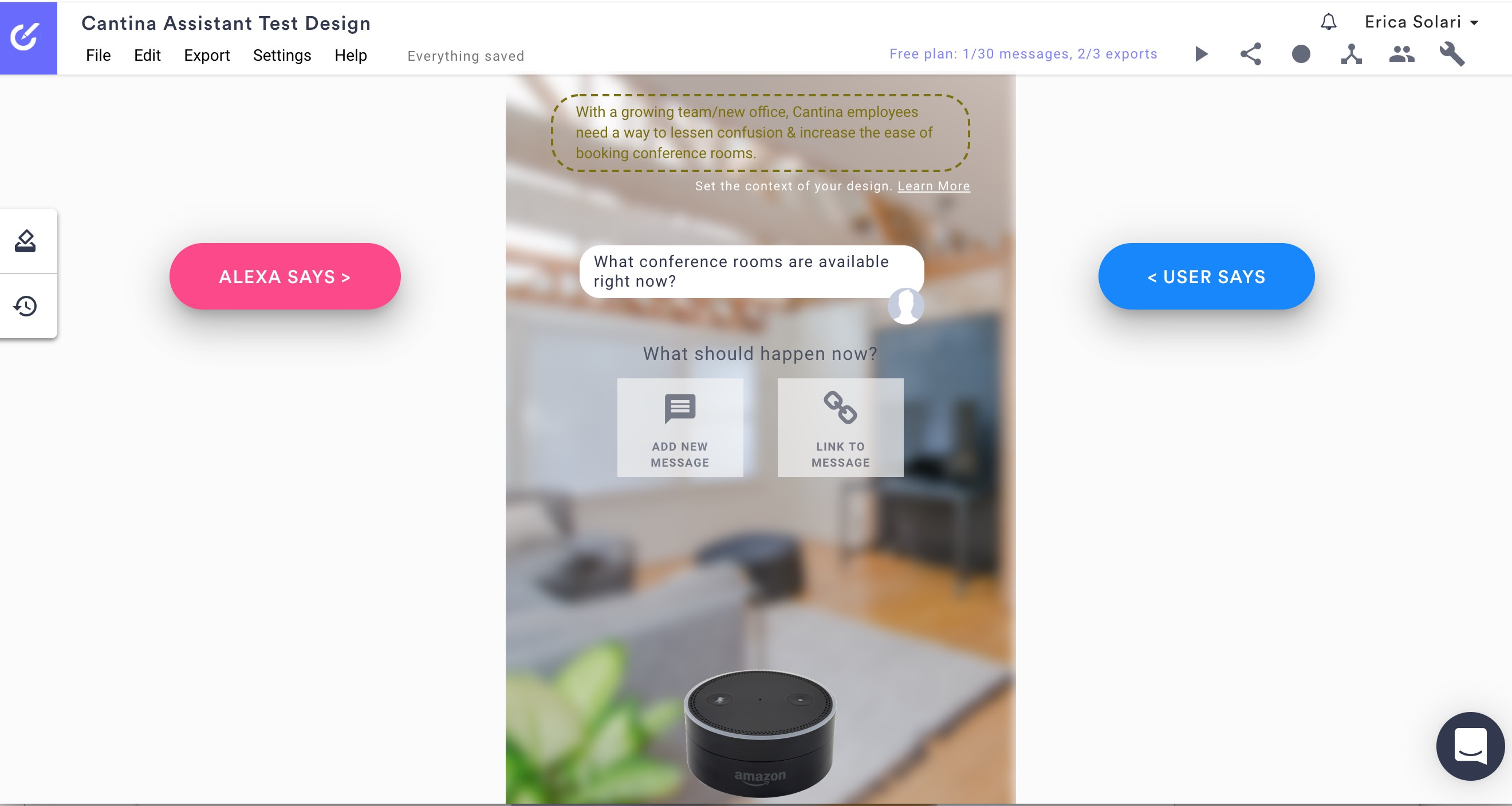 Screenshot of Botsociety interface using voice commands overlaid with photo of Alexa unit