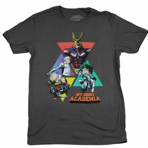 My Hero Academia Main Characters Triangles Grey T-Shirt