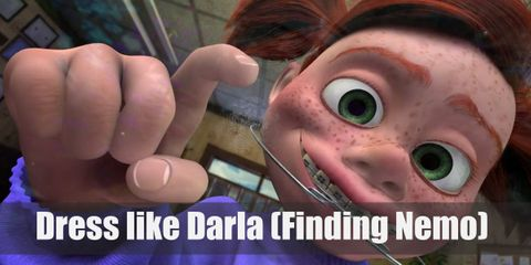 Darla would've been cute if it wasn't for her creepy eyes and sinister smile. She wears a purple sweater, a yellow plaid skirt, black Mary Janes, and old-school braces.