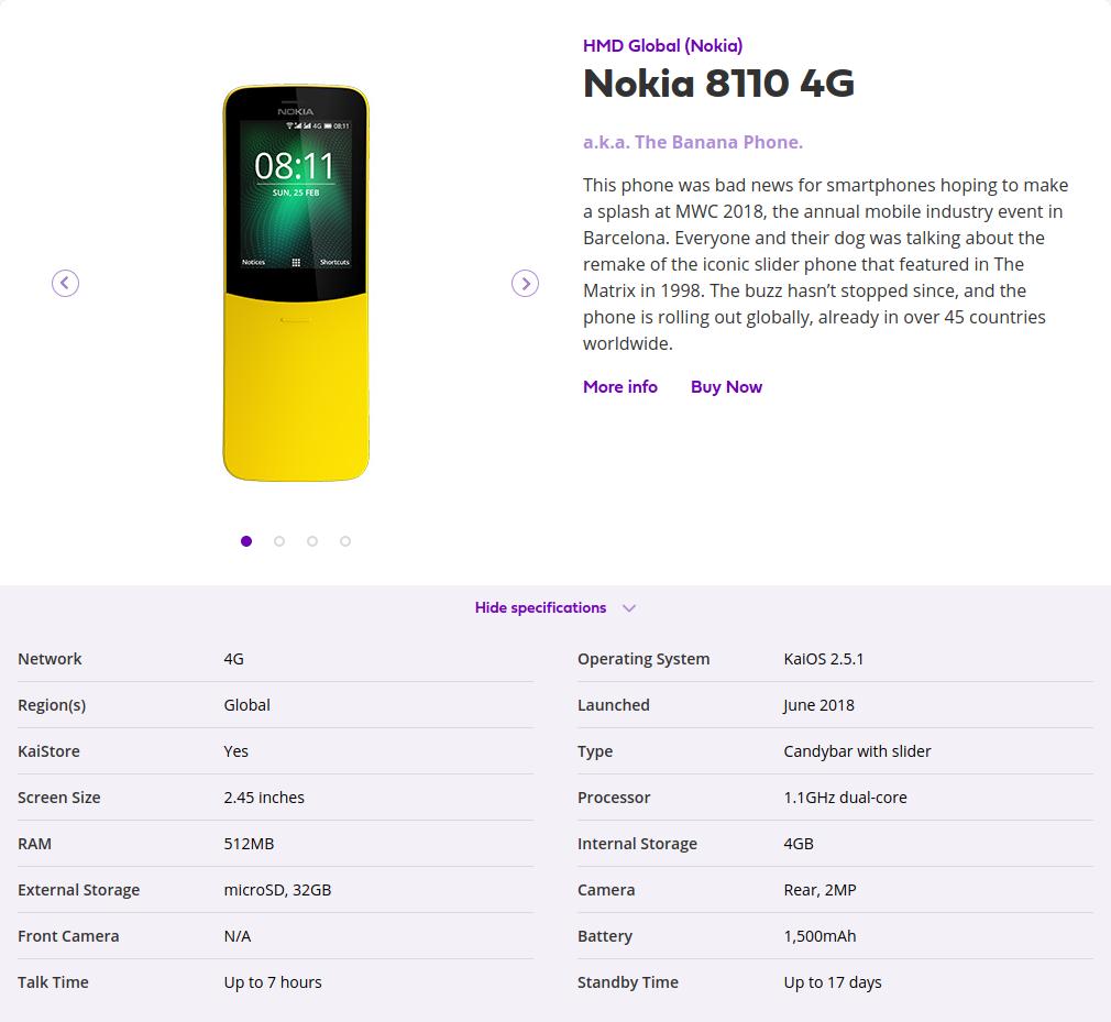 Caractéristiques techniques du Nokia 8110 4G