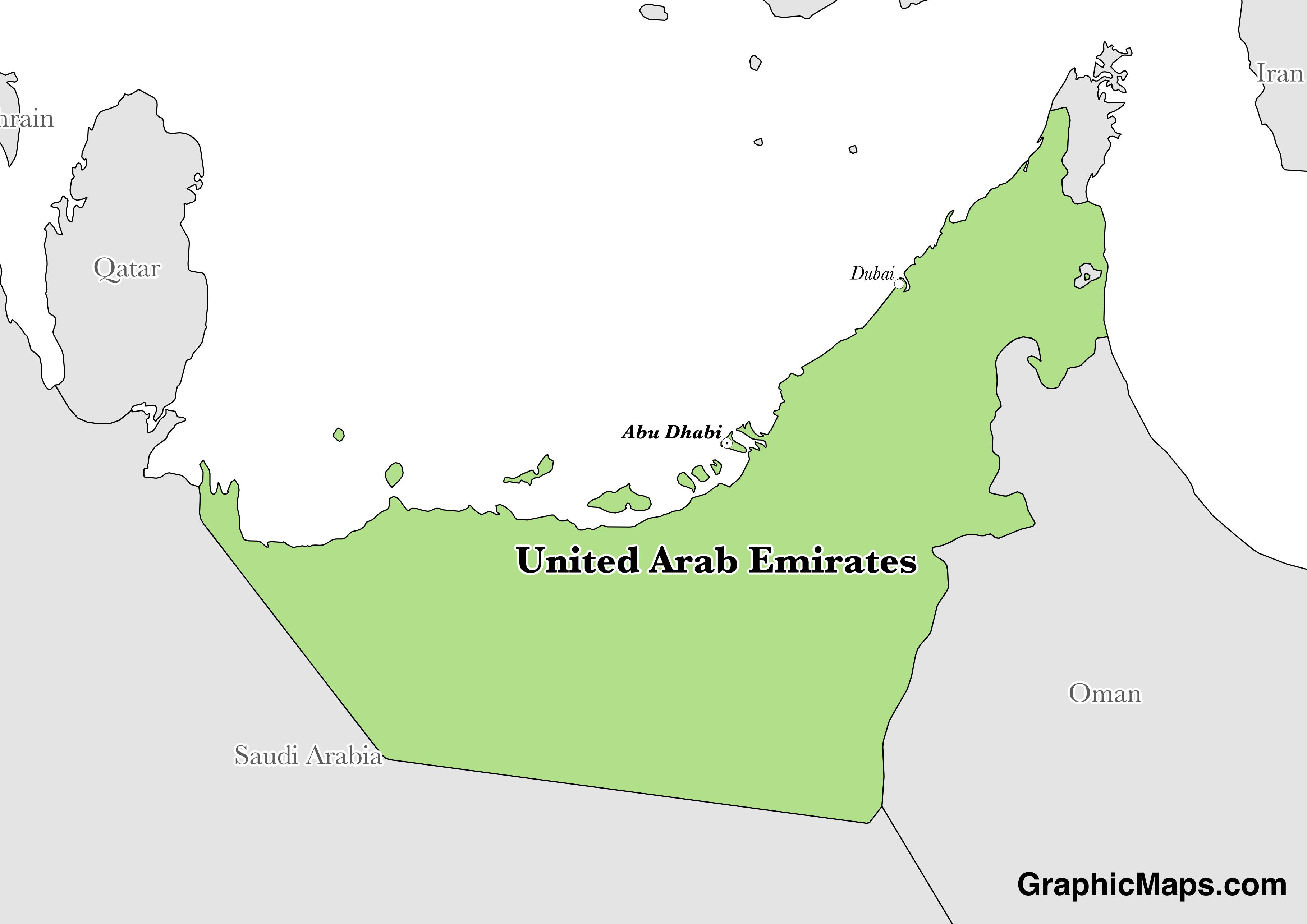 Map showing the location of United Arab Emirates