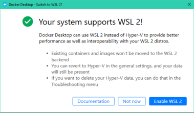 Docker Desktop prompt to switch to WSL2