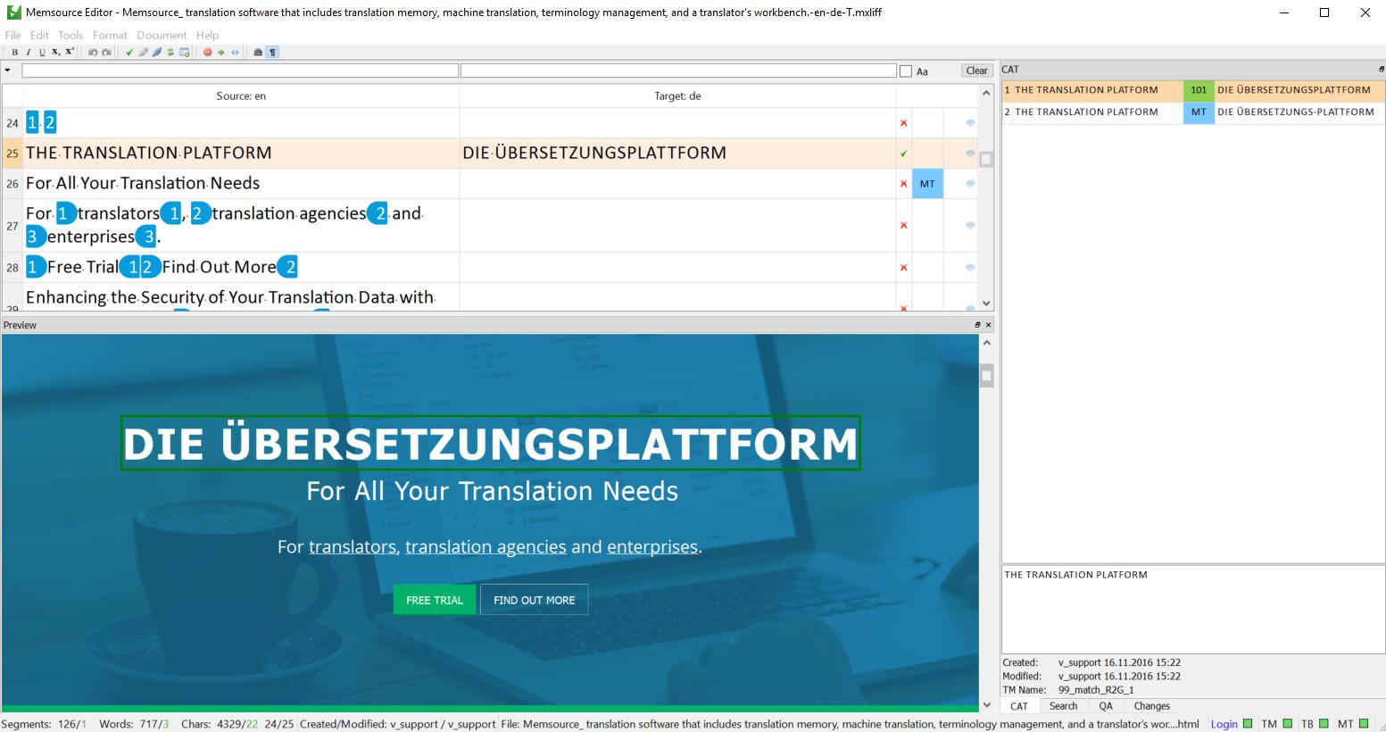HTMLファイル翻訳中のプレビュー画面