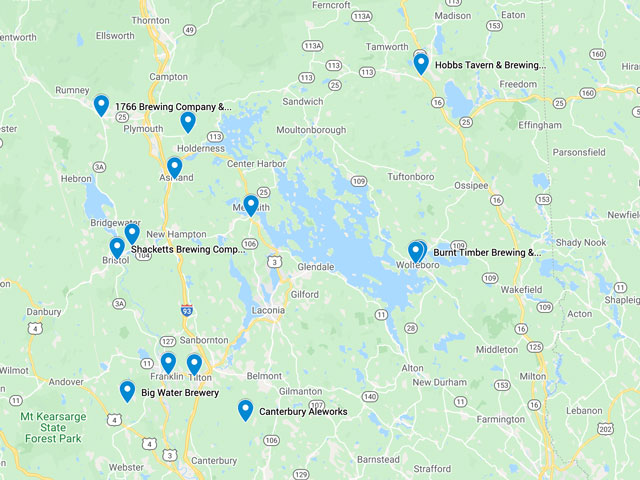Map of New Hampshire Breweries in the Lakes Region