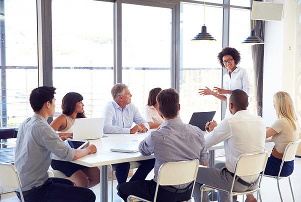 Group of people having a meeting.