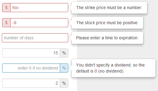 A form validation example on the black-scholes calculator