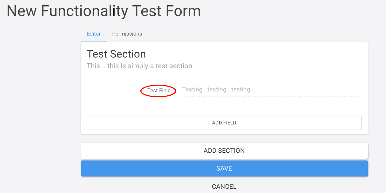 A functionality test form