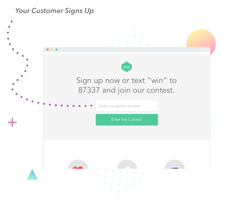 Sign up using a phone number from a landing page