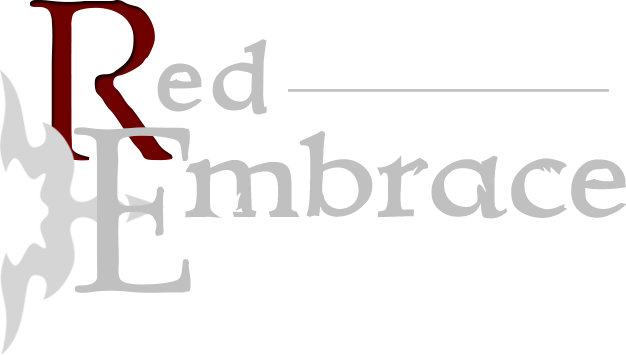 Red Embrace (logo 2, white text)