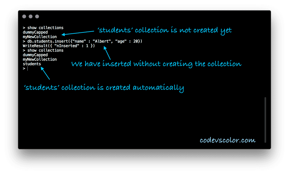MongoDB insert without creating collection