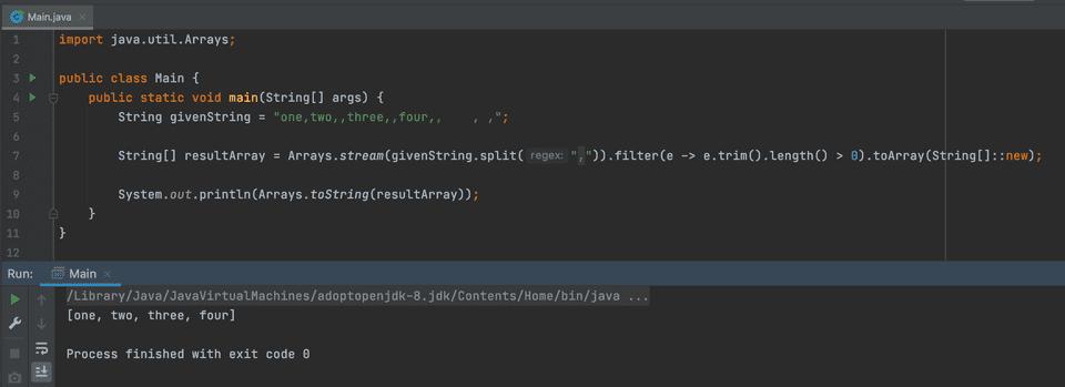 java remove empty while split
