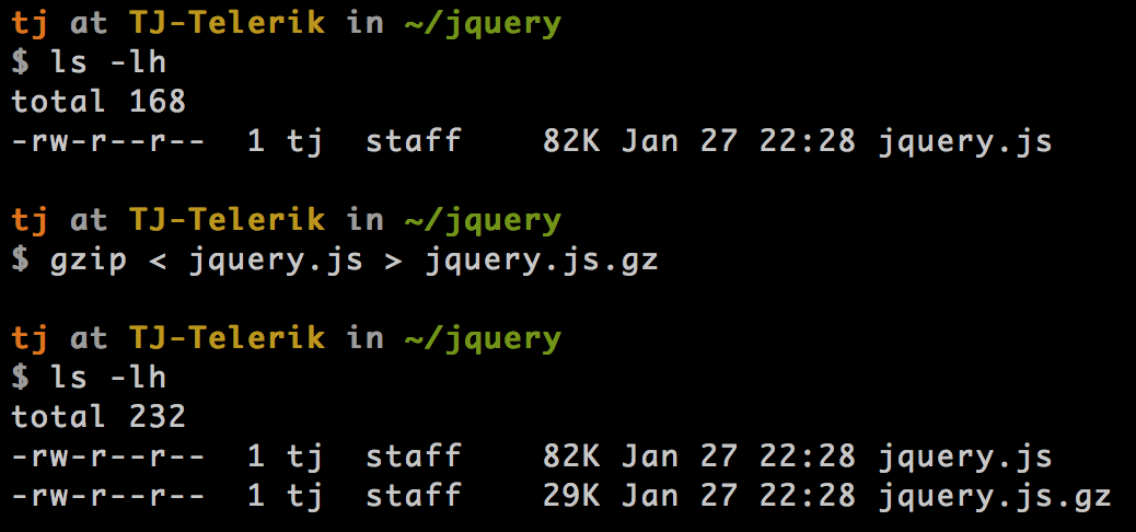 Running gzip on jQuery from the command line and generating a new file