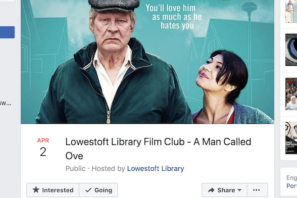 Screenshot of a Man Called Ove Facebook event.