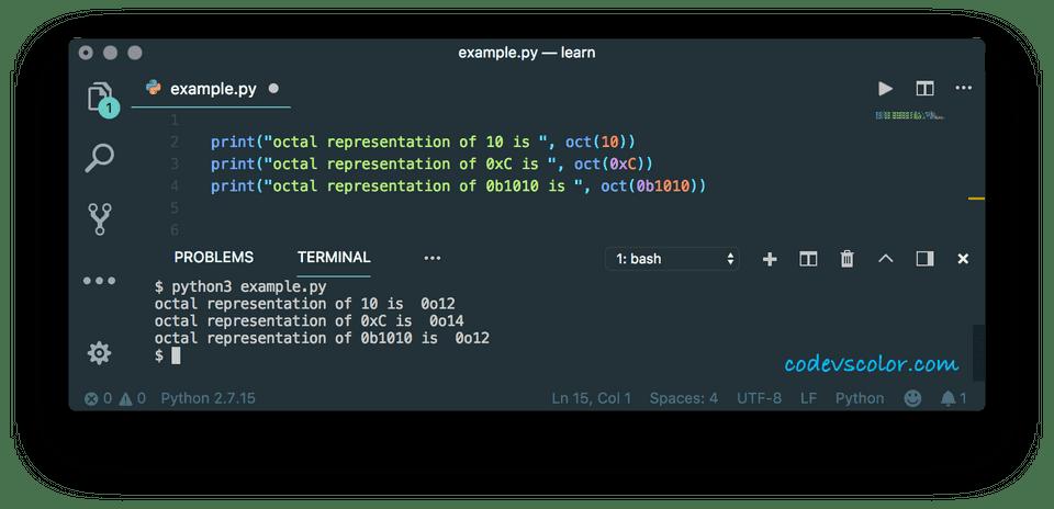 python oct() method example
