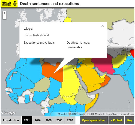 Screenshot of the map showing death penalties and executions for Amnesty International website