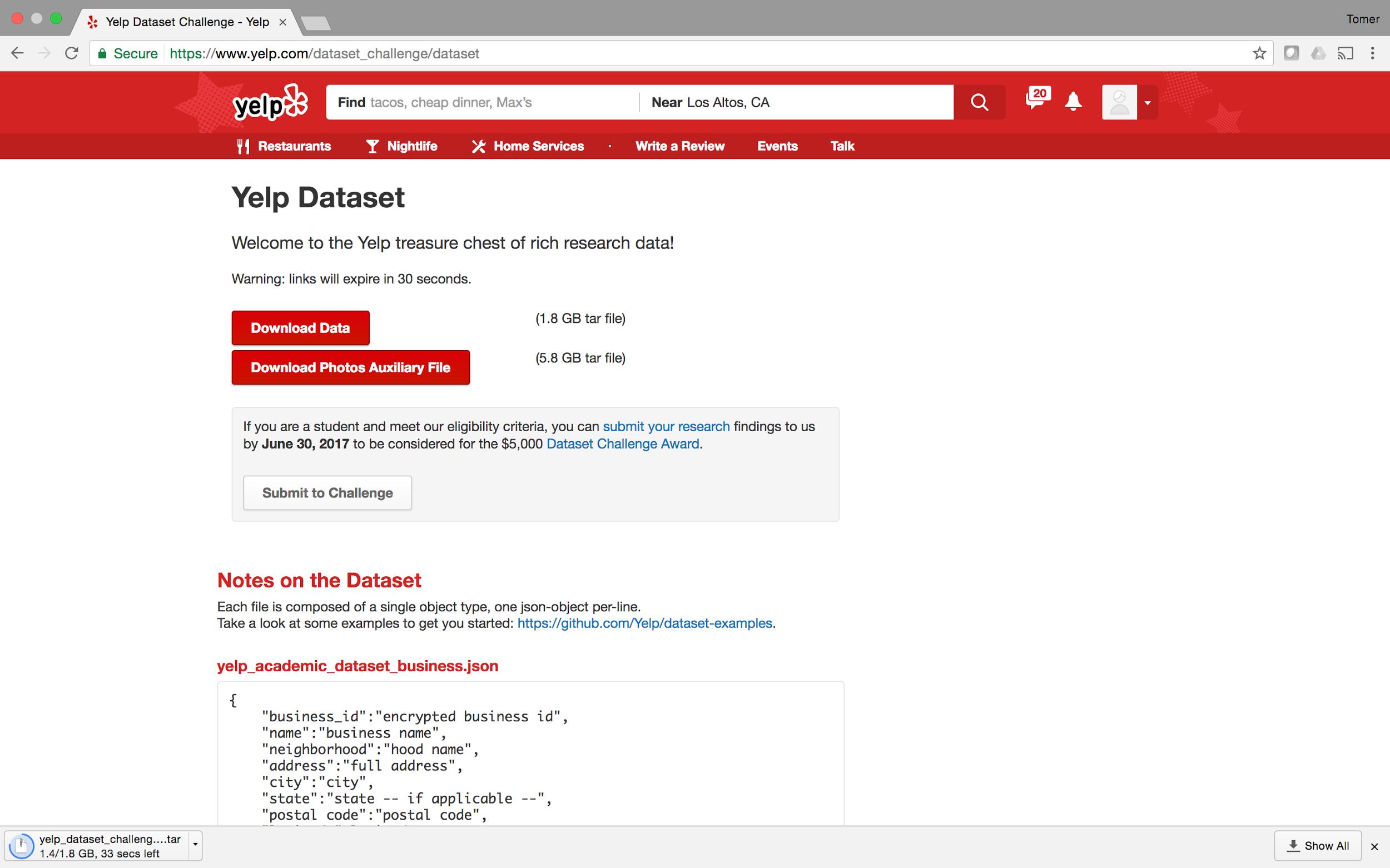 Yelp data source