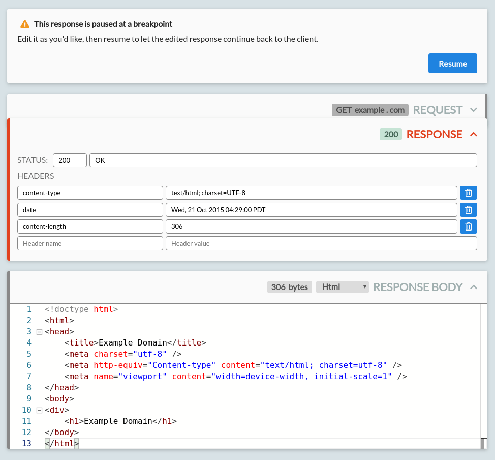 A response from example.com, paused at a breakpoint