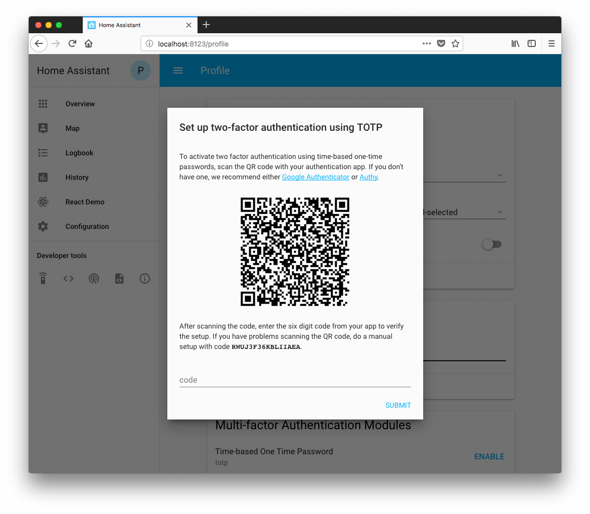 Screenshot of setting up multi-factor authentication