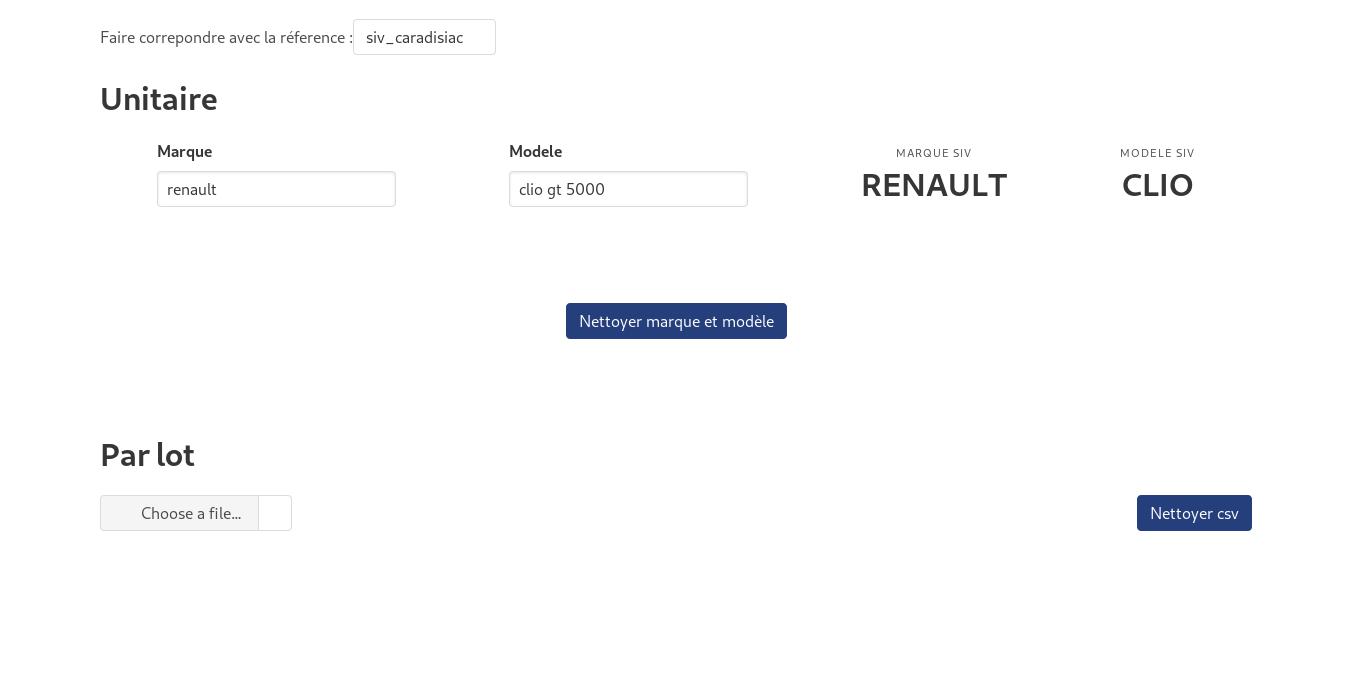 Match flou de la marque et modèle des véhicules dans la carte grise à partir d'un référentiel
