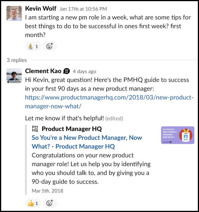 a question from PMHQ community about getting a new product management job