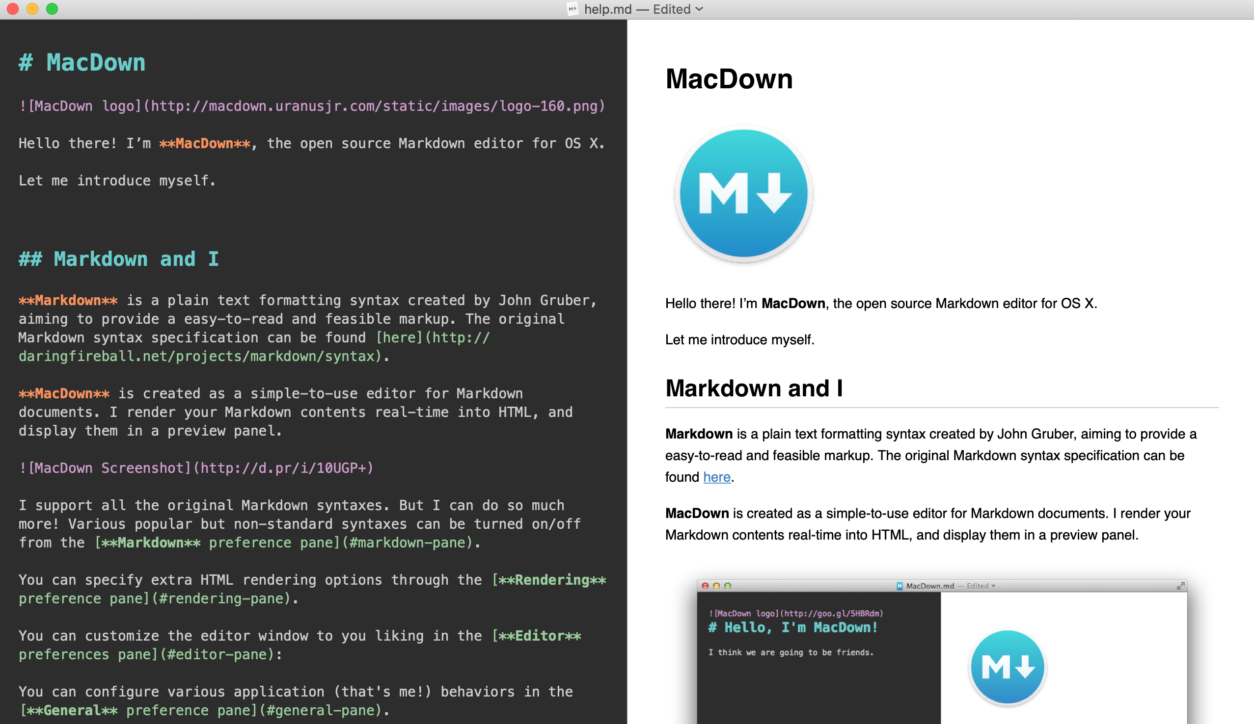 The MacDown application with open Markdown file.