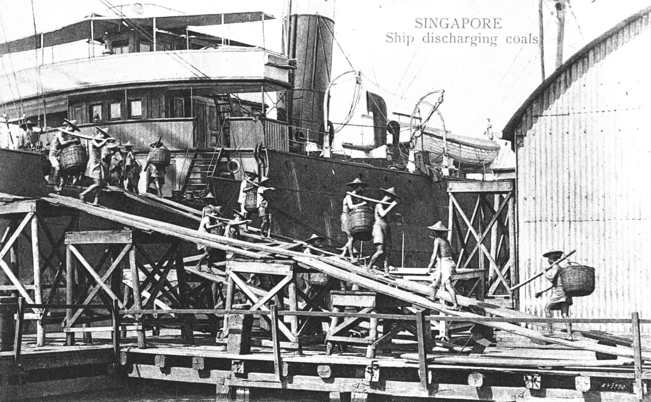 Ship docked at wharf of Tanjong Pagar Dock Company, c. 1910