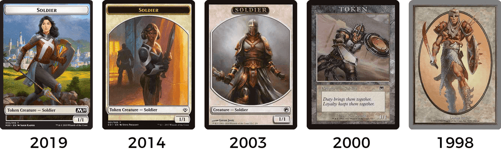 MTG token card frame design 1998-2019