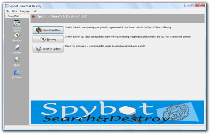interface du logiciel spybot