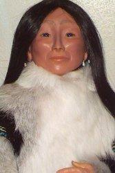 Eskimo woman doll close up